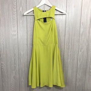 LUSH Neon Yellow Cut-out Skater Dress Size XS 💛
